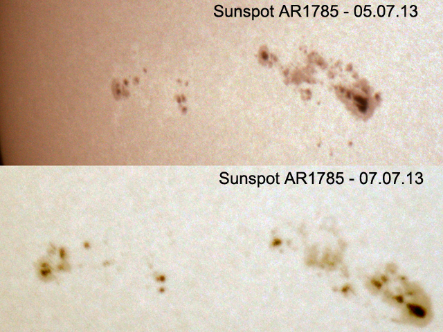 Sunspot AR1785 evolution over 2 days