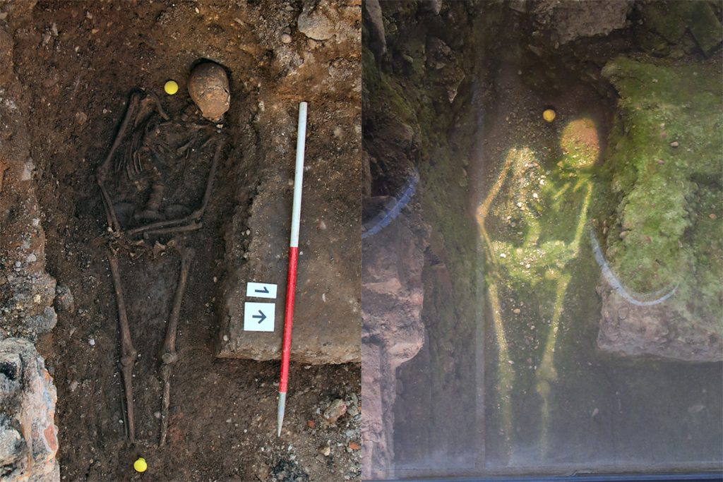 Richard III remains on the left and the projected image on the right as the grave now stands.